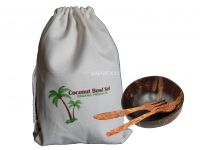 Eco Friendly Coconut bowls with Spoon Fork Knife Coconut wooden Cutlery - CBSFK404